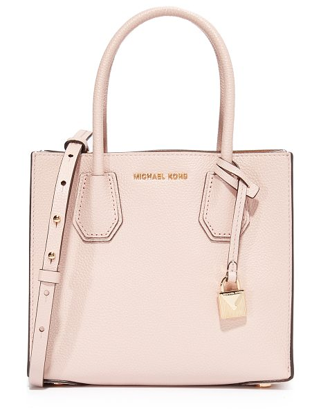 MICHAEL Michael Kors mercer messenger bag in soft pink - A MICHAEL Michael Kors tote in pebbled leather. A logo...