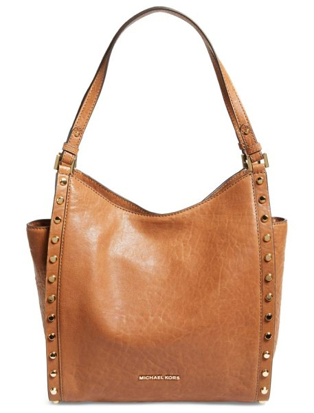 MICHAEL Michael Kors medium newbury leather tote in walnut - Gleaming disc studs add edgy polish to a poised,...