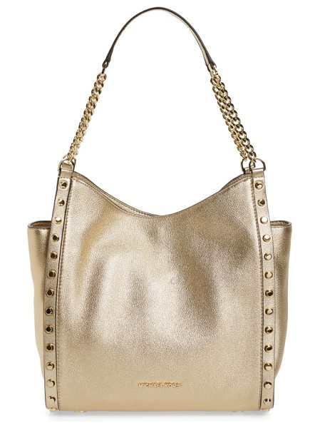 MICHAEL Michael Kors medium newbury leather tote in pale gold - A poised, pebbled-leather tote is designed with...