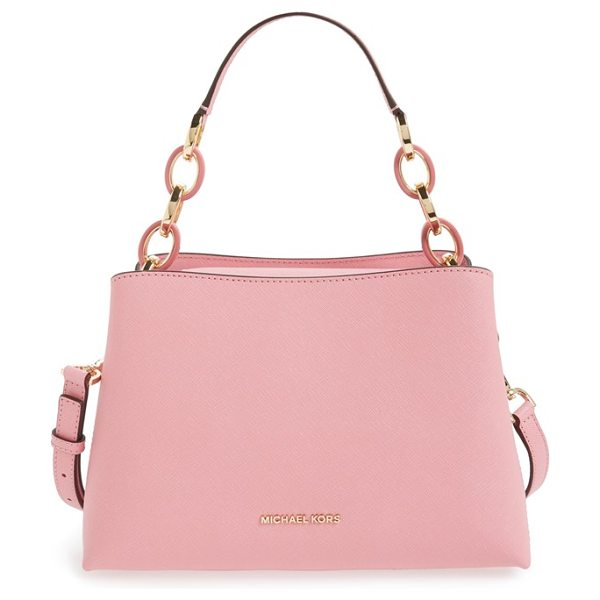 MICHAEL Michael Kors Medium portia shoulder bag in misty rose/ gold - Gleaming, logo-embossed hardware and mixed-link chain...