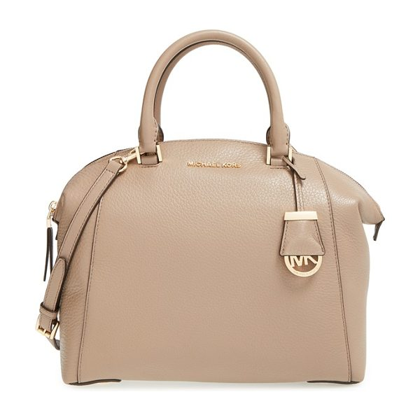 MICHAEL Michael Kors Medium riley satchel in dark dune - A slightly flared silhouette adds a poised, modern...