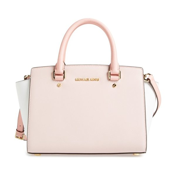 MICHAEL Michael Kors Medium selma tricolor leather satchel in dusty rose/ ecru/ black - A flared-gusset silhouette and refined color blocking...