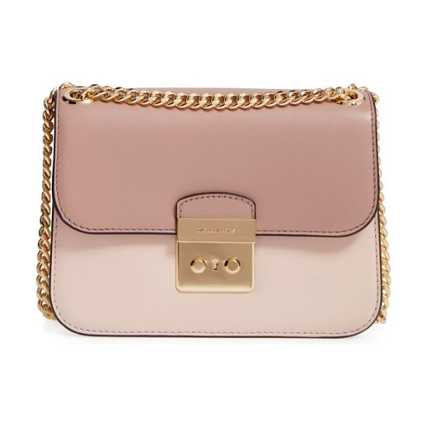 MICHAEL Michael Kors medium sloan editor shoulder bag in soft pink/ ecru/ fawn - Two-tone colorblocking refines and modernizes an...
