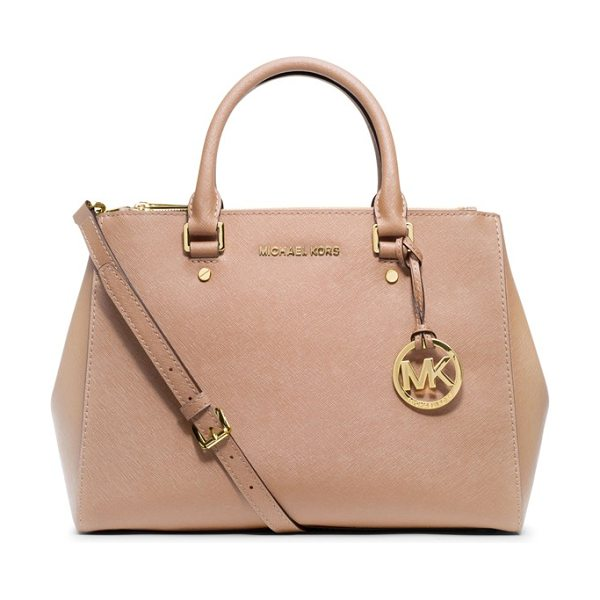 MICHAEL Michael Kors Medium sutton saffiano leather tote in blush - A clean, structured tote cast in lush Saffiano leather...