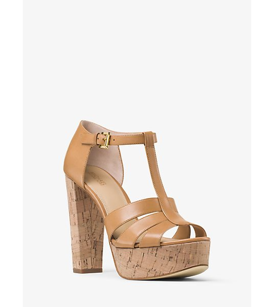 MICHAEL Michael Kors Mercer Cork Platform Leather Sandal in brown