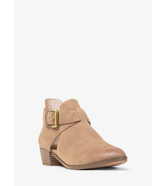 MICHAEL Michael Kors Mercer Cutout Suede Ankle Boot in natural - No Closet Is Complete Without A Versatile Pair Of Ankle...