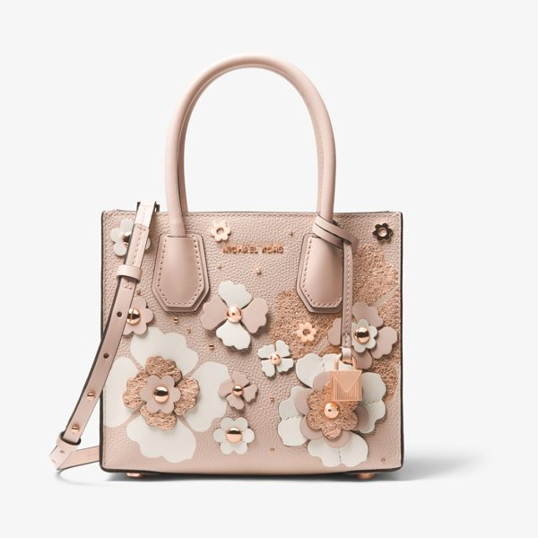 MICHAEL Michael Kors Mercer Floral Embellished Leather Crossbody in pink - Crafted From Pebbled Leather With Floral Embellishments...