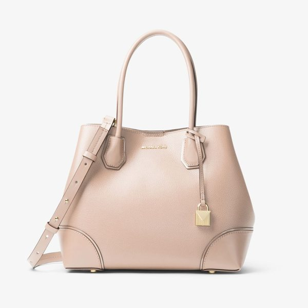 MICHAEL Michael Kors Mercer Gallery Medium Leather Satchel in pink - The Clean Soft Lines Of Our New Mercer Gallery Satchel...