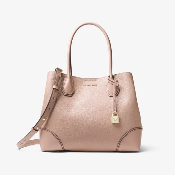 MICHAEL Michael Kors Mercer Gallery Medium Pebbled Leather Satchel in natural - The Clean Soft Lines Of Our New Mercer Gallery Satchel...