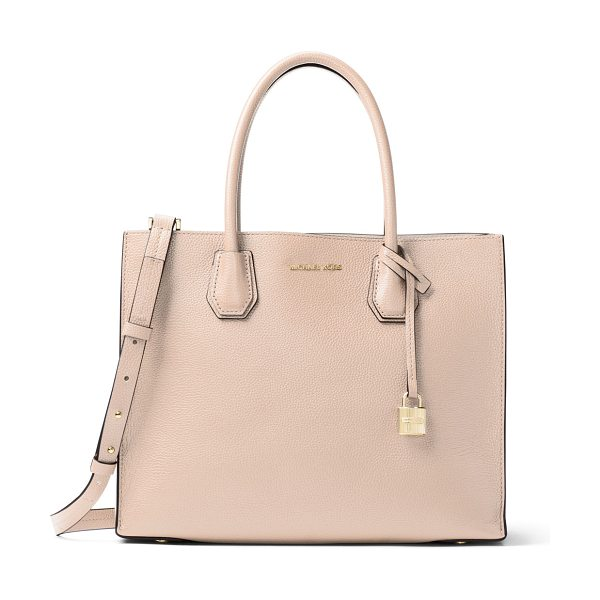 MICHAEL MICHAEL KORS Mercer Large Convertible Tote Bag - MICHAEL Michael Kors pebbled leather tote bag. Rolled...