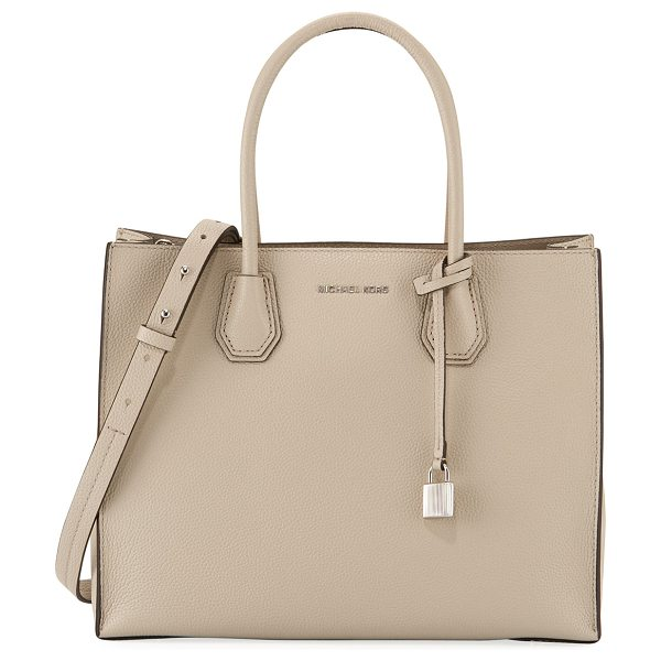 MICHAEL Michael Kors Mercer Large Convertible Tote Bag in cream - MICHAEL Michael Kors large pebbled leather tote bag with...
