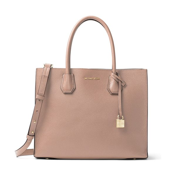 MICHAEL Michael Kors Mercer Large Convertible Tote Bag in fawn - MICHAEL Michael Kors pebbled leather tote bag. Rolled...