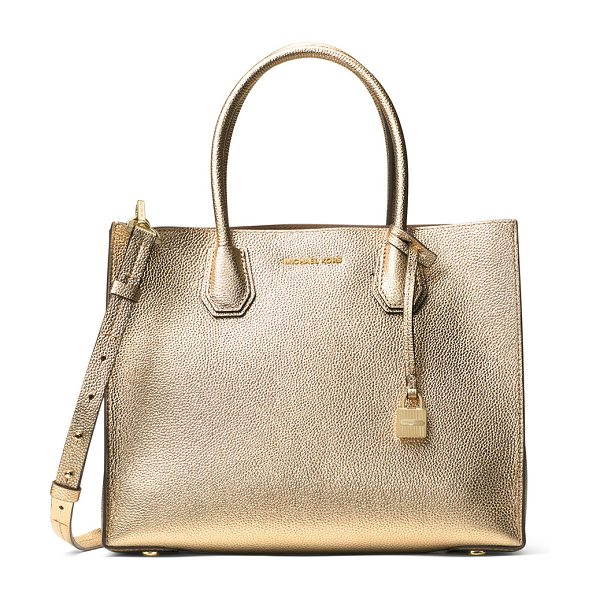 MICHAEL Michael Kors Mercer Large Convertible Tote Bag in pale gold - MICHAEL Michael Kors metallic pebbled leather tote bag....