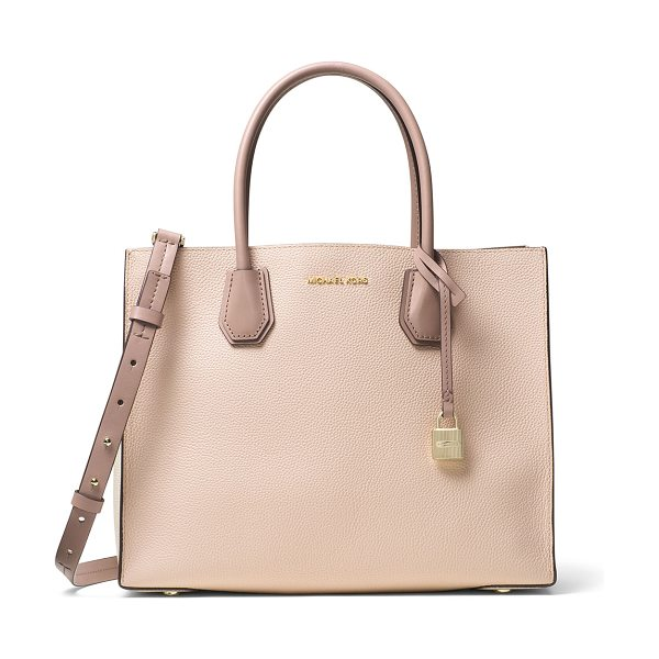 MICHAEL Michael Kors Mercer Large Convertible Tote Bag in pink/ecru/fawn - MICHAEL Michael Kors bicolor pebbled leather tote bag....
