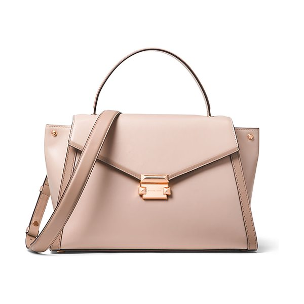 MICHAEL Michael Kors Whitney Large Leather Top-Handle Satchel Bag in light pink - MICHAEL Michael Kors leather satchel bag with rose...
