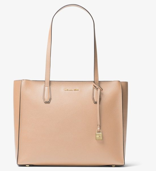MICHAEL Michael Kors Mercer Large Top-Zip Leather Tote in natural - Renewed For The Season In A Streamlined Shape Our Mercer...