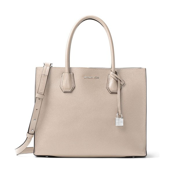 MICHAEL Michael Kors mercer leather satchel in pearl grey - Spacious satchel crafted from pebbled leather. Double...