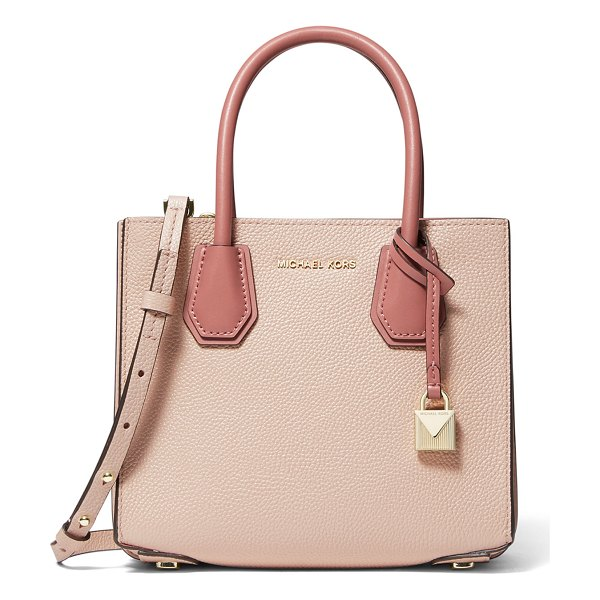MICHAEL Michael Kors Mercer Medium Accordion Crossbody Bag in light pink - MICHAEL Michael Kors crossbody bag in two-tone pebbled...
