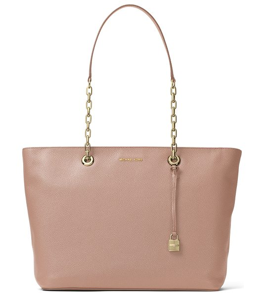 MICHAEL Michael Kors Mercer Medium Chain Leather Tote Bag in medium beige - MICHAEL Michael Kors pebbled leather tote bag. Approx....