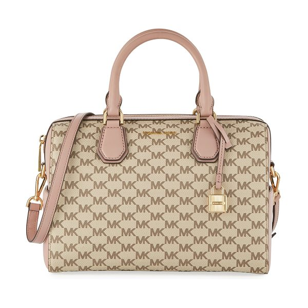 MICHAEL Michael Kors Mercer Medium Leather Duffle Bag in beige - MICHAEL Michael Kors pebbled calfskin logo duffle bag....