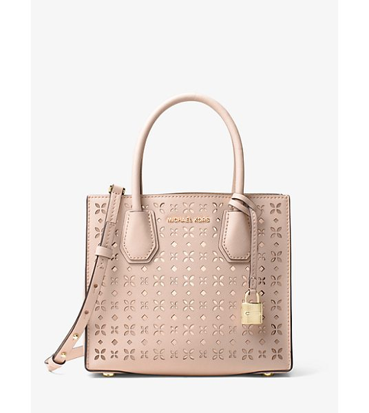 MICHAEL Michael Kors Mercer Perforated Leather Crossbody in pink - Crafted From Perforated Saffiano Leather Our Streamlined...