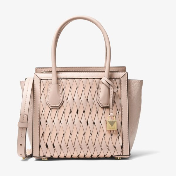 MICHAEL Michael Kors Mercer Studio Woven Leather Crossbody in pink - Defined By Winged Side Gussets Our Mercer Studio Is At...