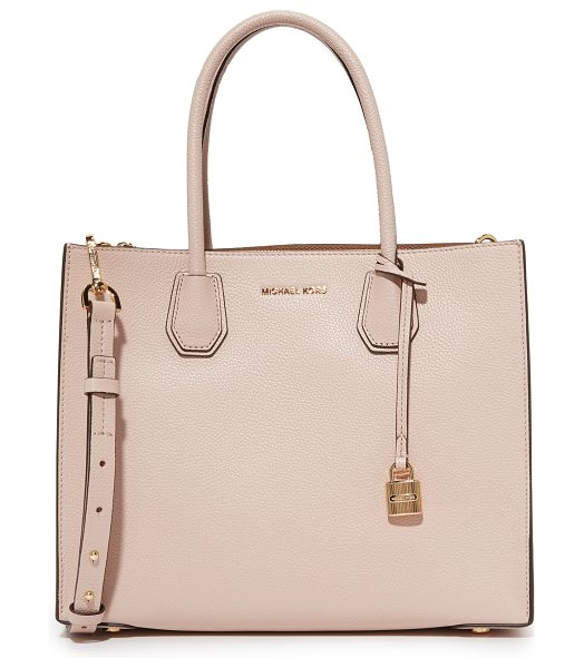 MICHAEL Michael Kors mercer tote in soft pink - A structured MICHAEL Michael Kors tote in pebbled...