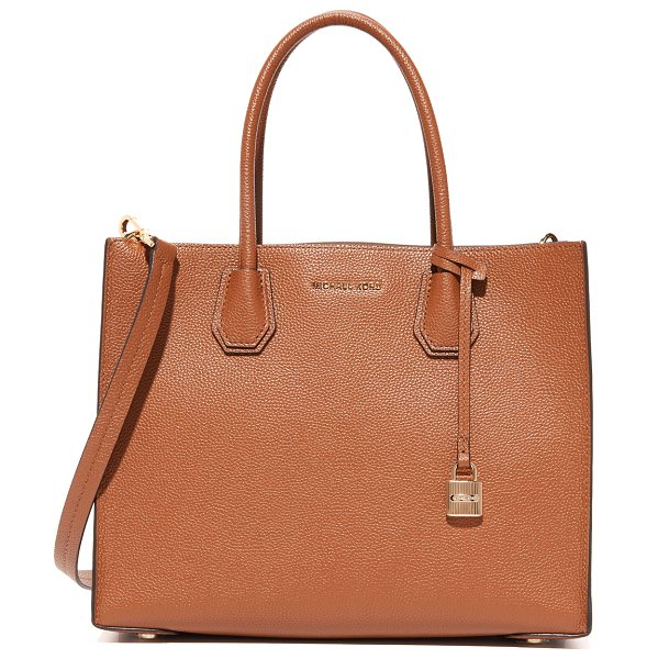 MICHAEL Michael Kors mercer tote in luggage - A structured MICHAEL Michael Kors tote in pebbled...