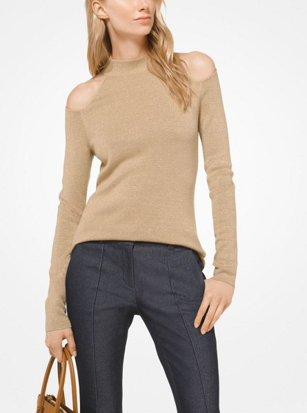 MICHAEL Michael Kors Merino Wool Peekaboo Pullover in natural - Shoulder Cutouts And A Mock Neckline Define This...