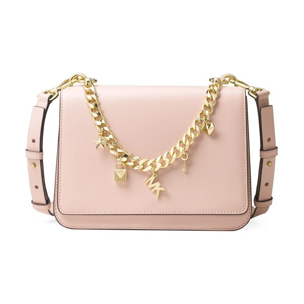 MICHAEL Michael Kors sloan charm leather shoulder bag in soft pink - Swag shoulder bag featuring logo chained appliques....
