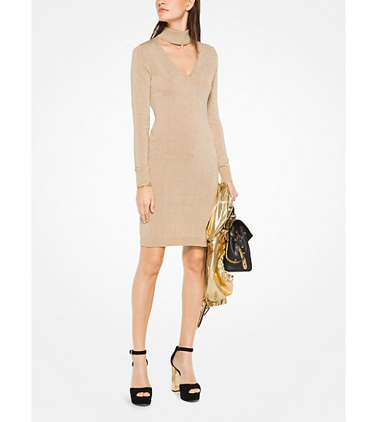 MICHAEL Michael Kors Metallic Cotton-Blend Cutout Dress in natural - Metallic Threads Update This Lbd With Understated Shine...