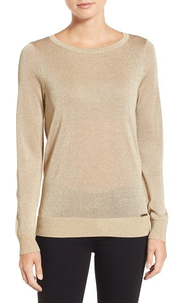 MICHAEL Michael Kors metallic drape back sweater in khaki - A shimmering sweater presents a demure front while drama...