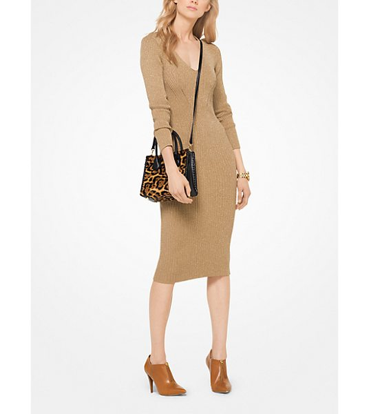 MICHAEL Michael Kors Metallic Ribbed Sweater Dress in brown - Simple Yet Stunning This Fitted V-Neck Sweater Dress Is...