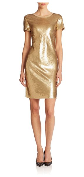 MICHAEL MICHAEL KORS Metallic sequined shift dress in khaki - A simple silhouette showcases a glamorous sequined...
