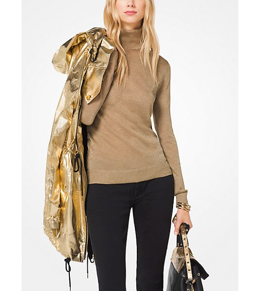 MICHAEL Michael Kors Metallic Turtleneck Pullover in natural - Knit With Shimmering Metallic Threads This Semi-Sheer...