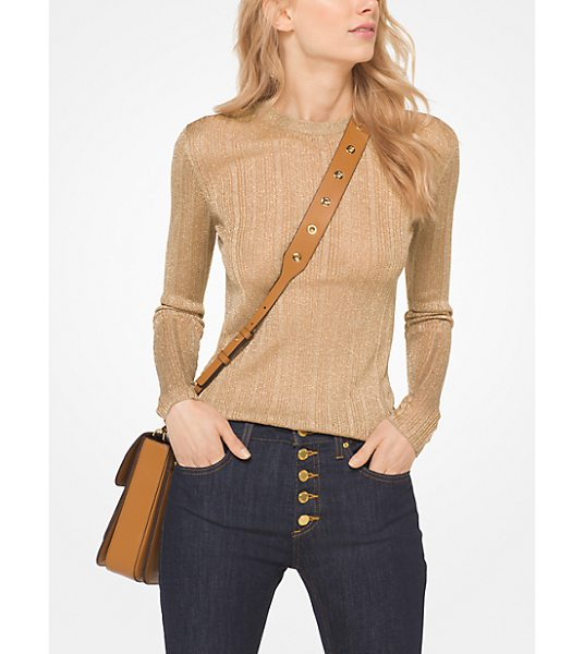 MICHAEL Michael Kors Metallic Viscose-Blend Pullover in brown - A Semi-Sheer Metallic Knit Updates This Fitted Crewneck...