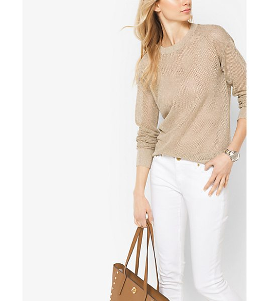 MICHAEL Michael Kors Metallic Viscose-Mesh Sweater in natural - Sheer With A Hint Of Shimmer This Lightweight Crewneck...