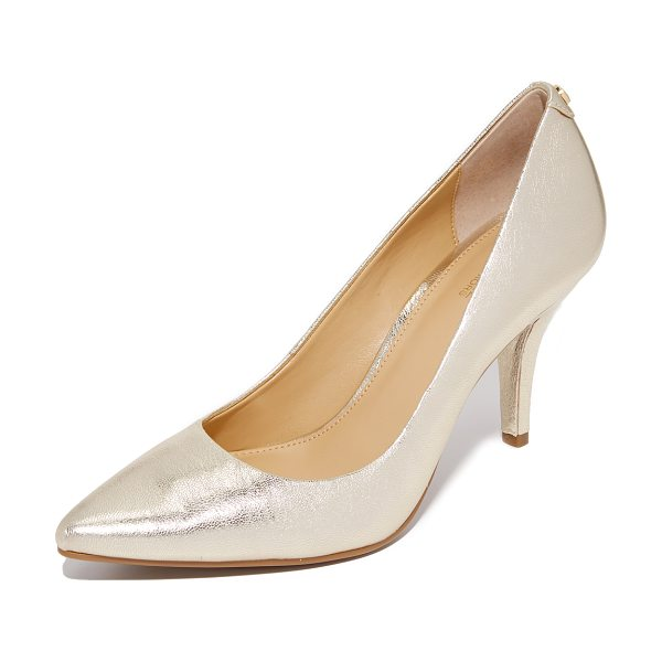 MICHAEL Michael Kors Michael Michael Kors Mid Flex Pumps in pale gold - Crackled, metallic leather updates these refined,...