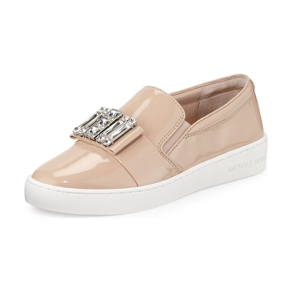 MICHAEL MICHAEL KORS Michelle faux-patent jewel sneaker in light blush - MICHAEL Michael Kors faux patent leather (polyurethane)...