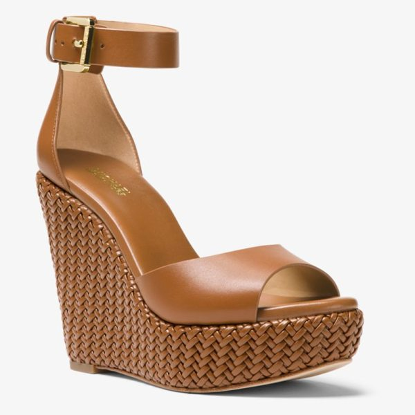 MICHAEL Michael Kors Mika Leather Wedge in brown - Our Mika Wedge Is An Effortlessly Chic Option For The...