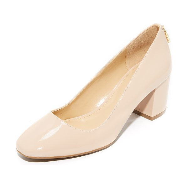 MICHAEL Michael Kors mira mid pumps in lt blush - A gold-tone lock charm adds a charming, playful touch to...