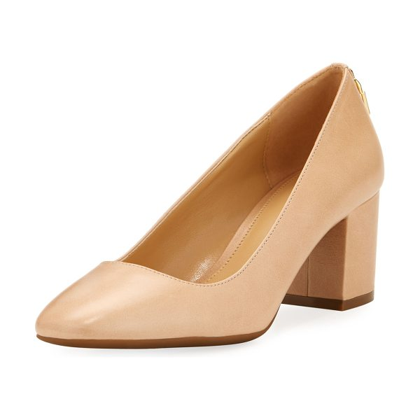 "MICHAEL Michael Kors Mira Smooth Leather Pump in khaki - MICHAEL Michael Kors ""Mira"" smooth leather pump. Covered..."