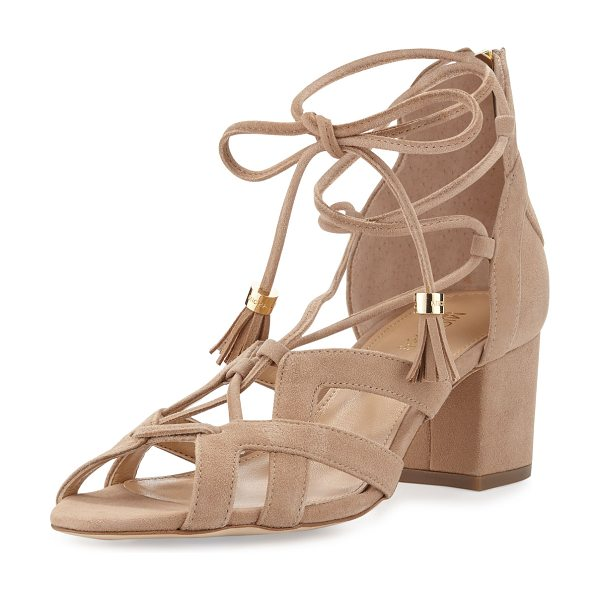 MICHAEL Michael Kors Mirabel suede lace-up sandal in dark khaki - MICHAEL Michael Kors kid suede sandal in modified...