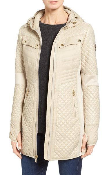 MICHAEL Michael Kors mixed media hooded zip front coat in khaki - A classic winter look-a stand-collar anorak-gets an...