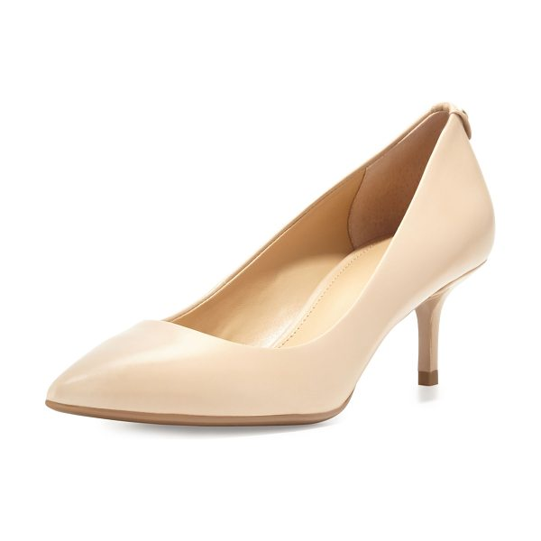 "MICHAEL Michael Kors MK-Flex Leather Mid-Heel Pump in nude - MICHAEL Michael Kors classic kid leather pump. 2.3""..."