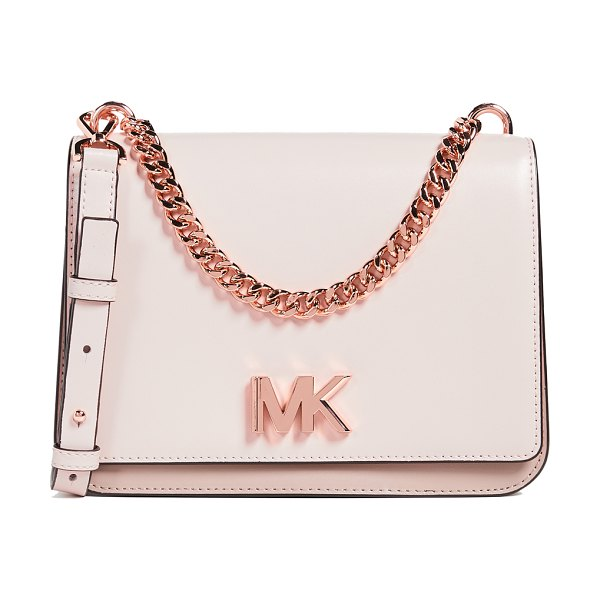 MICHAEL Michael Kors mott large shoulder bag in soft pink/fawn - Leather: Cowhide Smooth leather Rose-gold-tone hardware...