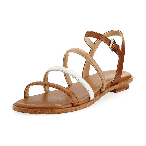 "MICHAEL Michael Kors Nantucket Strappy Flat Sandal in brown - MICHAEL Michael Kors ""Nantucket"" colorblock leather..."