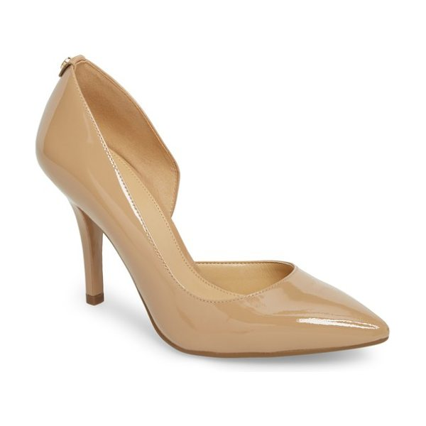 MICHAEL Michael Kors 'nathalie flex' half d'orsay pump in toffee patent leather - An immaculate half d'Orsay silhouette defines a lithe...