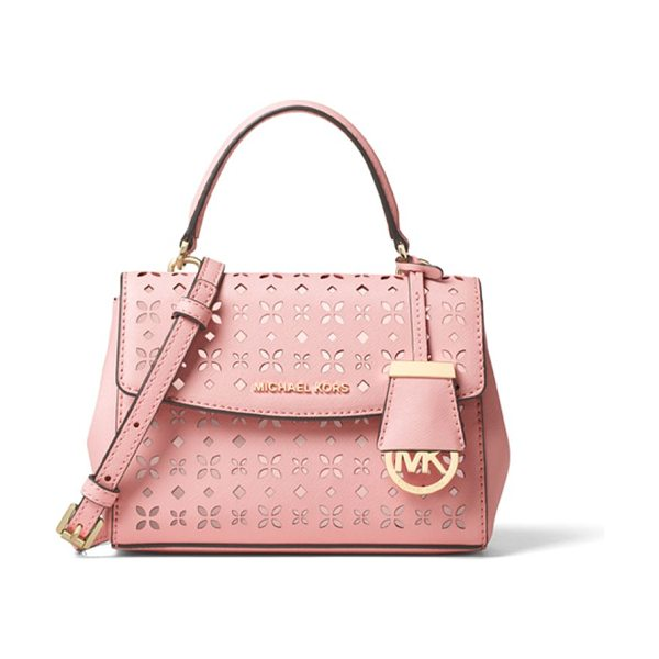 MICHAEL MICHAEL KORS Perforated leather crossbody - Ladylike satchel in pretty perforated leatherTop handle,...