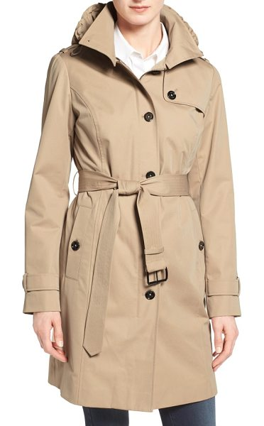 MICHAEL Michael Kors hooded trench coat in british khaki - A clean, single-breasted design brings a dash of modern...